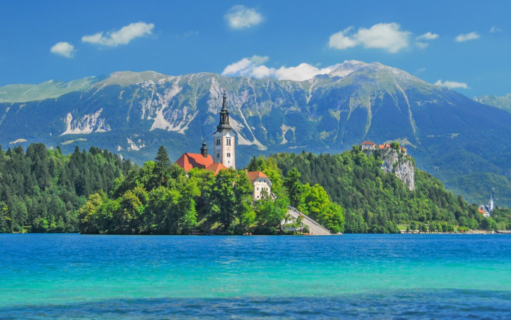 Bled with lake, island, castle and mountains in background,Tripod, Slovenia, Europe